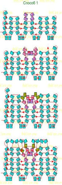 """Плотное плетение """"ёлочкой"""", техника ндебеле. Прибавление и убавление числа бисерин в ряду"""