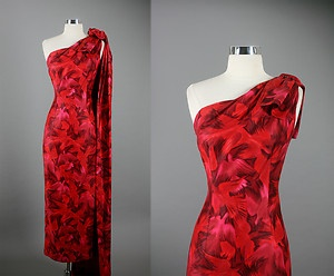 Vintage 50s Elegant  Hawaiian One Shoulder Party Wedding Dress L/XL