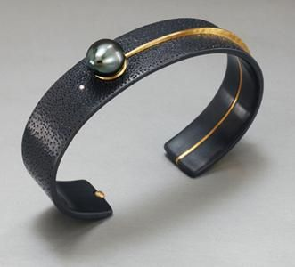David Butler, Bracelet, 2010, sterling silver, 18K gold, diamond, black pearl