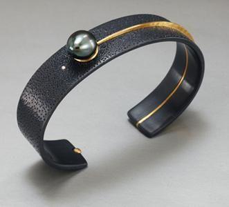 David Butler, Bracelet, 2010, sterling silver, 18K gold, diamond, black pearl