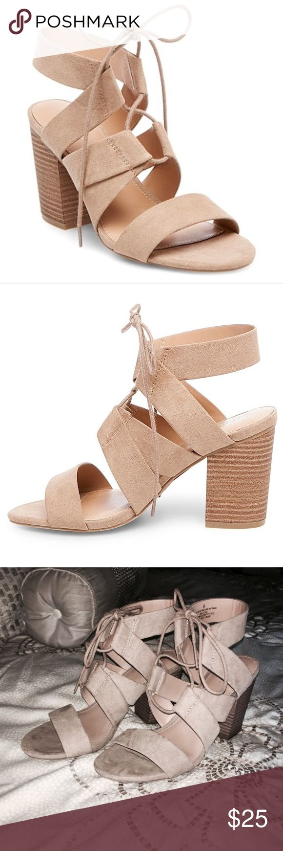 Merona Tan Strappy Heels Super cute worm once! True to size. Perfect condition Merona Shoes Heels