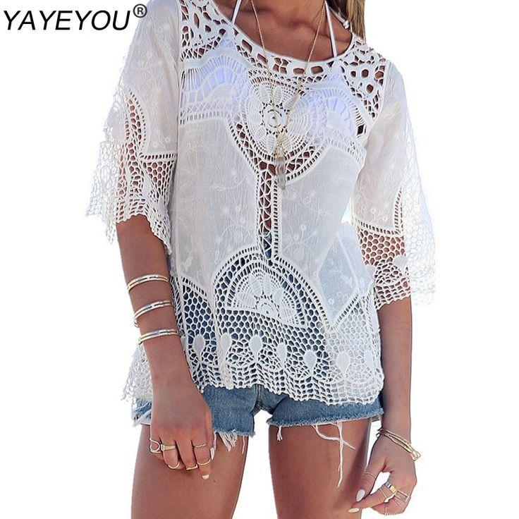 Белые Женщины блузка Sexy кружево крючок Boho пляжного бикини прикрывает Блузы рубашки Топы дешевой одежду Китая