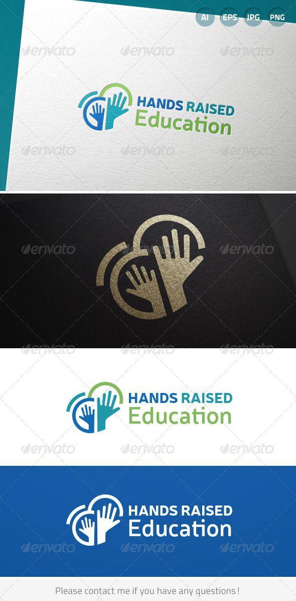 Hands Raised Education	 Logo Design Template Vector #logotype Download it here: …