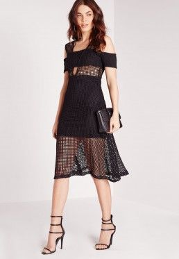 Mesh Band Midi Skater Dress Black