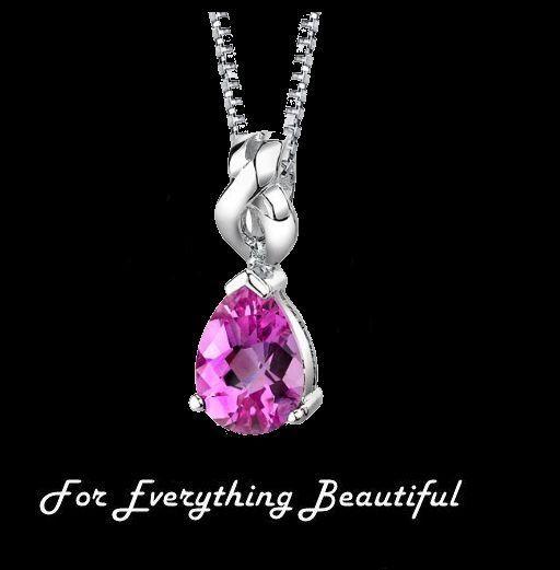 Pink Sapphire Pear Cut Ribbon Detail Sterling Silver Pendant