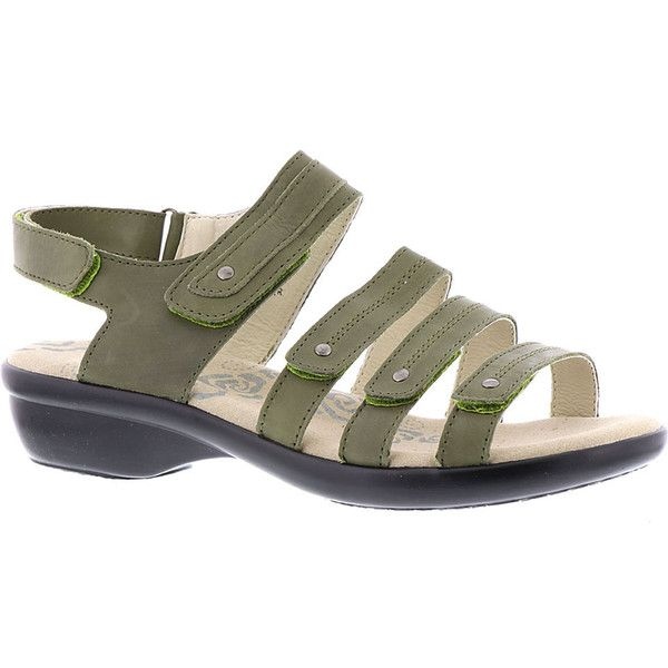 Propet Aurora Women's Green Sandal ($70) ❤ liked on Polyvore featuring shoes, sandals, green, summer sandals, velcro shoes, mid-heel shoes, lightweight shoes and propet shoes