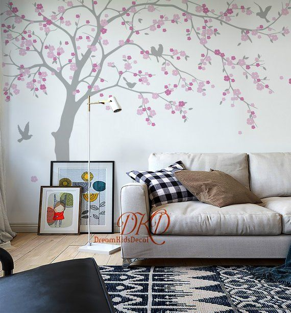 Cherry Blossoms Tree Wall Decal For Nursery Girls Room Etsy Tree Decal Nursery Tree Wall Decal Nursery Wall Decals Tree