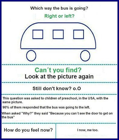 "Which way is the bus going? Right or Left?  (Forgive whoever generated this image…should be ""I know, me too."")Buses, The Doors, Blondes Moments, Feelings Stupid, Random Quotes, Funny Pictures, Funny Stuff, Smart Kids, Schools Kids"