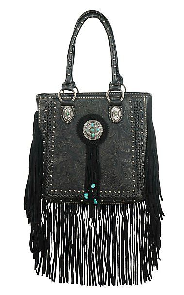 Trinity Ranch Black Floral Embossed with Turquoise and Silver Studs Western Purse | Cavender's