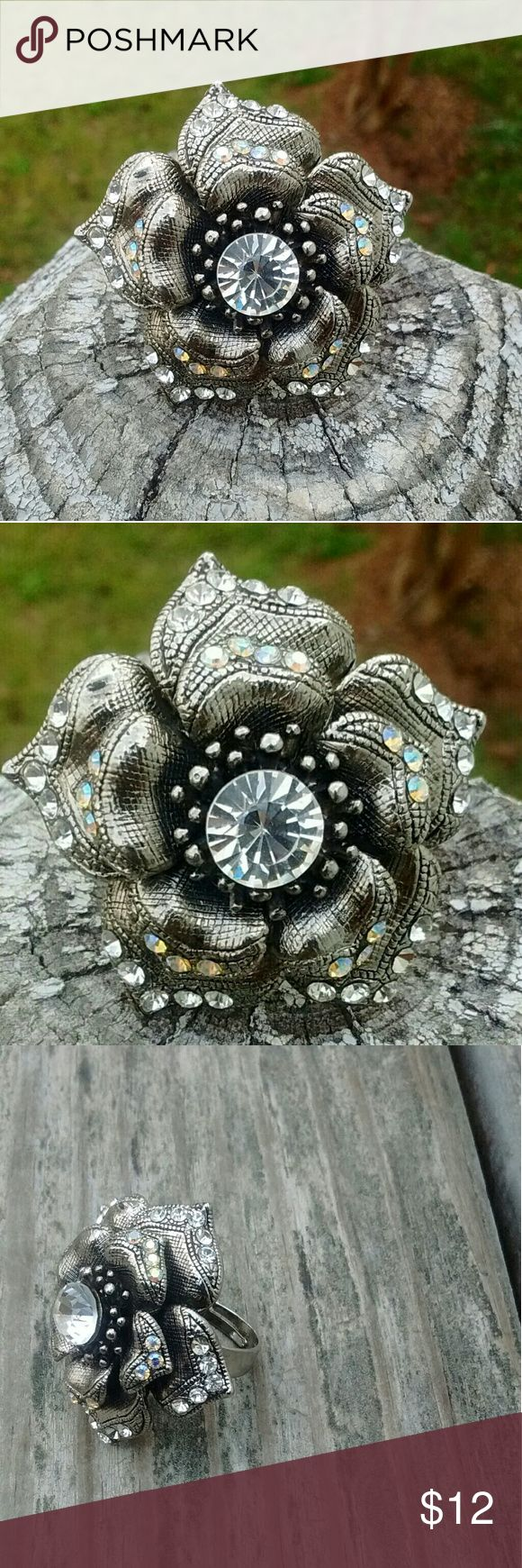 Statement Crystal Flower Costume Jewelry Ring *big and bold this huge ring can't help but be seen  *metal adjustable ring Jewelry