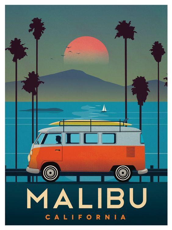 Pas cher Malibu Bus Surf Sport Rouge Paysage De Voyage Vintage Rétro Affiche…