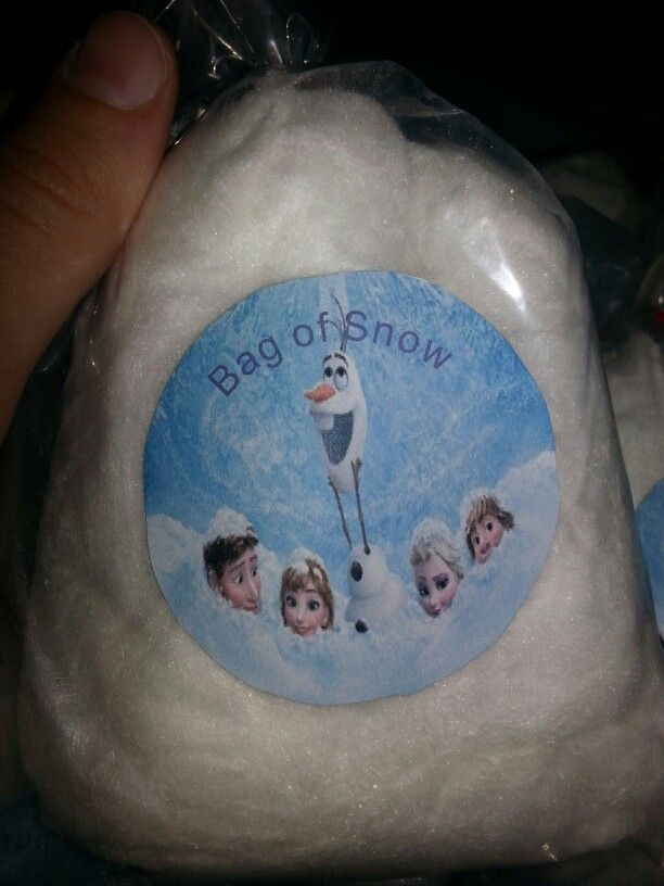 """I made these Frozen """"bag of Snow"""" cotton candies for Alyssa's birthday"""