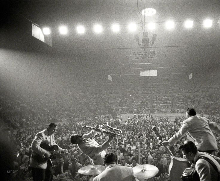 "U.S. Bill Haley and the Comets and Laverne Baker performing at the Sports Arena in Hershey, Pennsylvania,  April 1956 // From photos by Ed Feingersh for the Look magazine article ""The Great Rock 'n' Roll Controversy."""