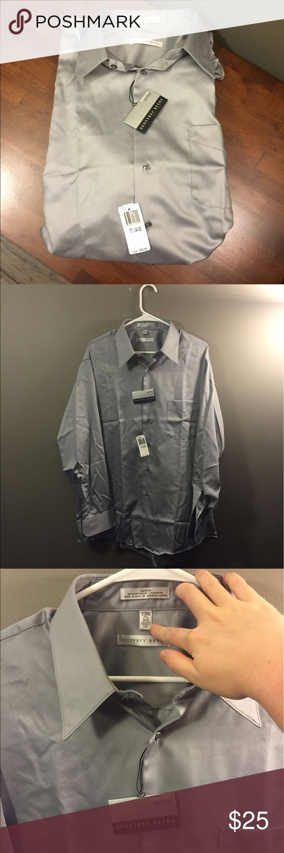 🆕 Geoffrey Beene Silver Sateen Button Down NWT Brand new with tags! Perfect for weddings! 17 1/2 34-35 Geoffrey Beene Shirts Dress Shirts
