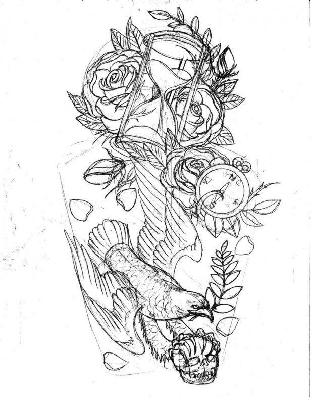 Hourglass tattoo vorlage  44 besten Traditional Hourglass Tattoo Drawing Bilder auf ...