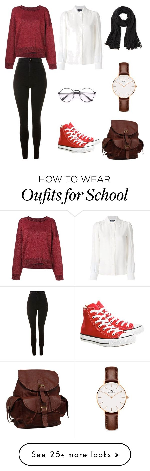"""back to school"" by heidy-robles on Polyvore featuring RtA, Vanessa Seward, Topshop, Converse, Steve Madden, Daniel Wellington and AmeriLeather"