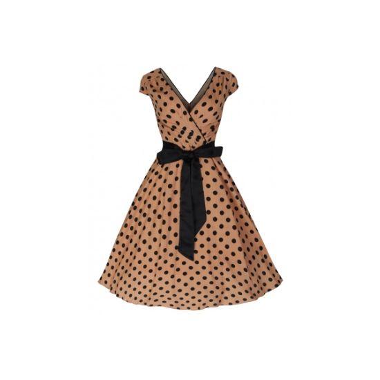Retro šaty Lindy Bop Mary Ellen Caramel  Šaty ve stylu 50. let. Naprosto dokonalé šaty pro romantické a něžné duše. Lehoučký příjemný materiál, velmi příjemný na dotek, ideální pro teplé letní dny i večery. Krásná karamelově hnědá barva, nadčasový černý puntík, rafinovaný střih vpředu imitující zavinovací typ šatů, vzadu také mírně vykrojené, krátký rukávek, v pase hedvábná černá stuha. Pro bohatý objem sukně doporučujeme spolu se spodničkou z naší nabídky. Dobře měřte, materiál příliš…