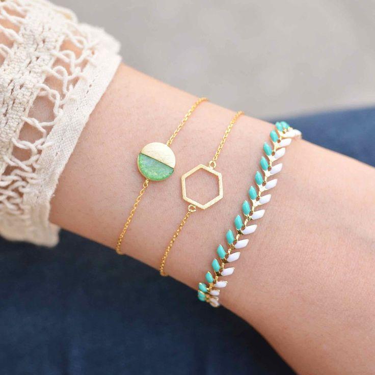 Majolie - Hexagone Gold Bracelet - - 1