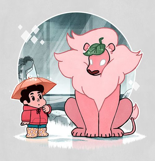 ravennowithtea: Another entry I did for the WeLoveFine: Steven Universe tshirt design contest - Steven and Lion waiting together in the rai...