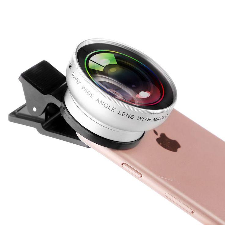 Zomei universal 0.45x wide angle + makro kit lensa kamera 2 dalam 1 kit untuk iphone untuk huawei untuk samsung smartphone tabel