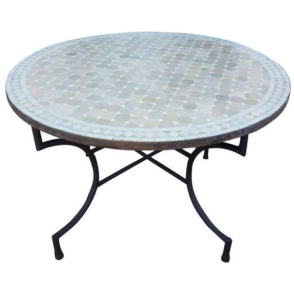 Round Moroccan Mosaic Table Natural White 1 986 Liked On
