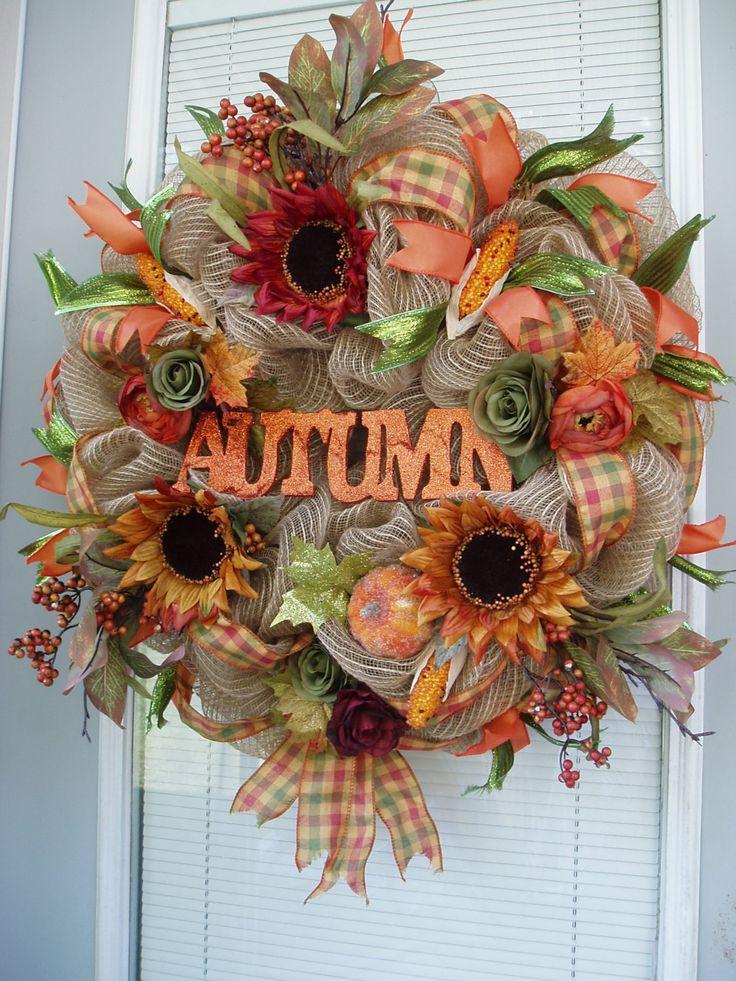 AUTUMN-- Natural Burlap Deco Mesh Wreath, Fall Burlap Wreath, Seasonal Burlap Wreath, Autumn Mesh Wreath, Thanksgiving Wreath by AnnieOjan on Etsy https://www.etsy.com/listing/206196656/autumn-natural-burlap-deco-mesh-wreath