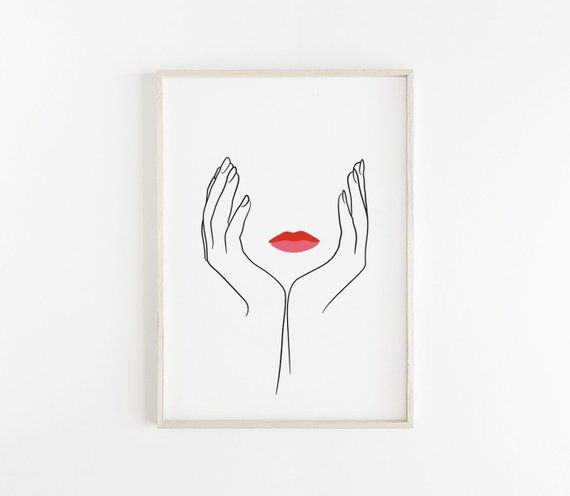 Hands and lips PRINTABLE, Minimal female face drawing, Hands line print, Single line art, Sketch art, Woman art, One line drawing – Jannika Lesniak