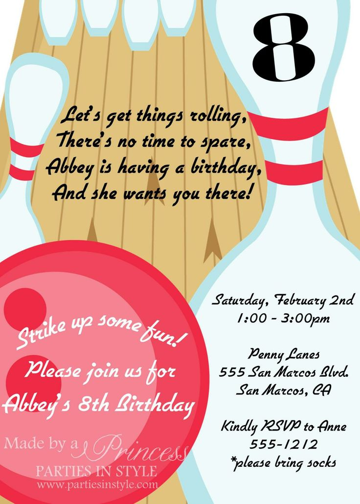 26 best Bowling party invites images on Pinterest 10th birthday - bowling invitation template
