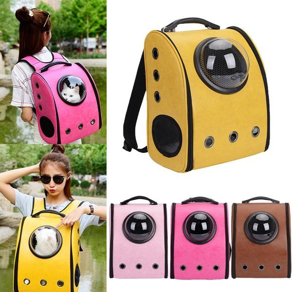 Dog Cat Pet Astronaut Capsule Backpack Carrier Box With Transparent Breathable Cover