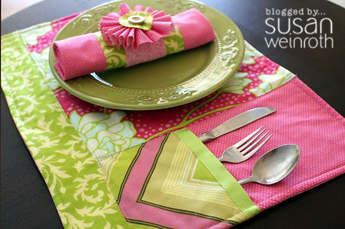 Placemats, Cloth Napkins, & Cloth Napkin Rings -- Free downloadable tutorial from Fiskars