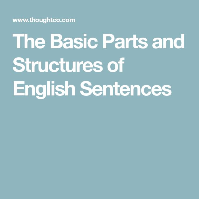 The Basic Parts and Structures of English Sentences