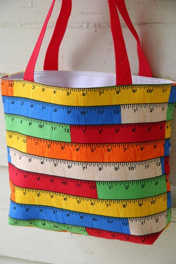 cool ruler tote--insulated with a flat gusset bottom and a velcro closure $26