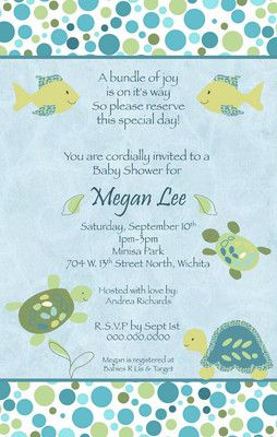 Like The Wording Cocalo Turtle Reef Baby Boy Shower Invitation You