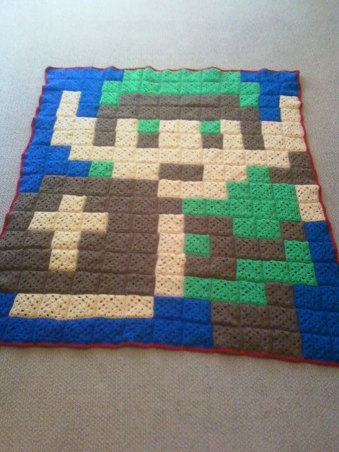 Crocheting Games : Custom Crochet Blanket Afghan Pixel Video Game Character of Your ...
