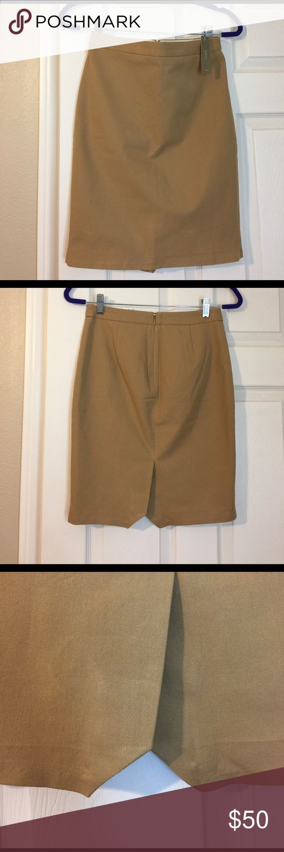 "J.Crew tan pencil skirt in stretch cotton Adorable tan pencil skirt from J.Crew. Very cute and a great versatile color. Had a professional tailor take the hem down 1""1/2 but it's still a little too short for my personal liking, it hits right above my knee and I'm 5'1"". No trades, thanks for looking! J. Crew Skirts Pencil"