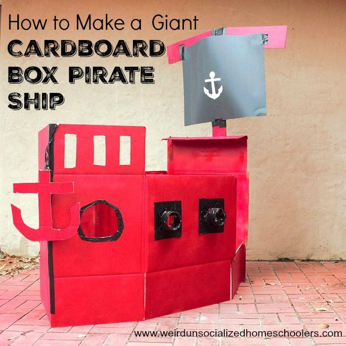 Your kids will love studying and reading about pirates in a kid-sized cardboard box pirate ship. Learn how to build it in this step-by-step tutorial.