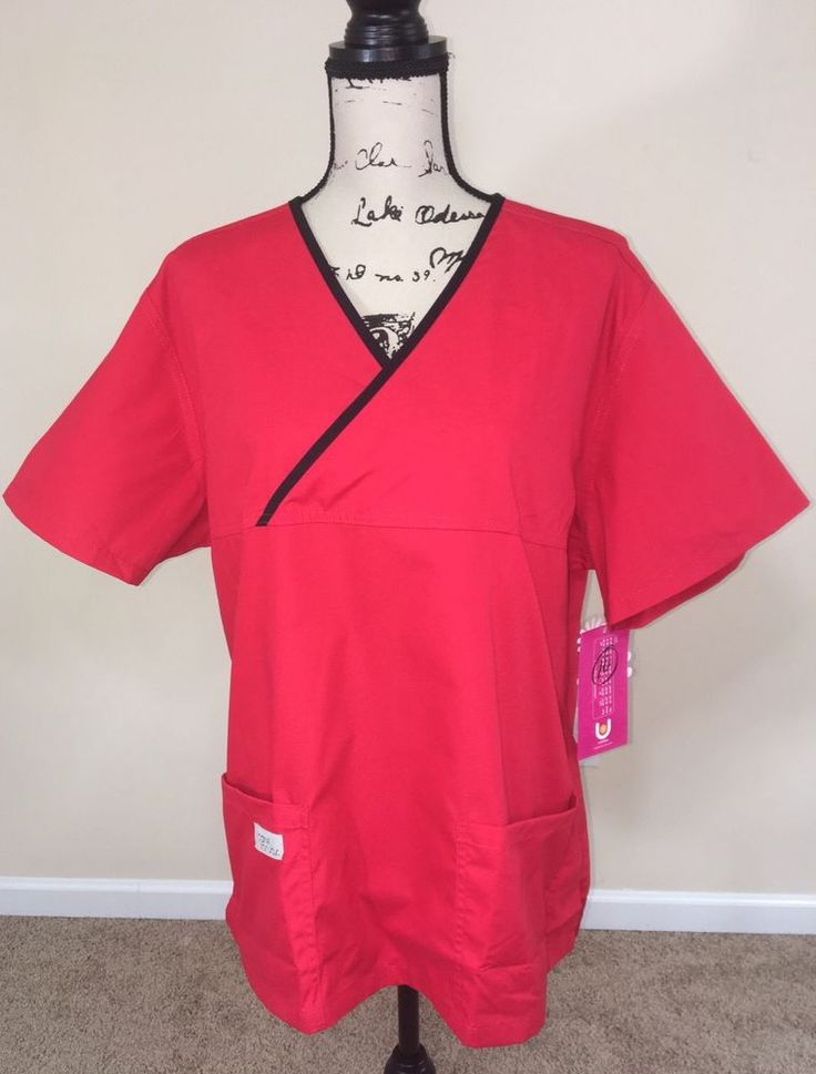 Urbane Scrubs Double Pocket Crossover Top Women's Size 1X Red New With Tags