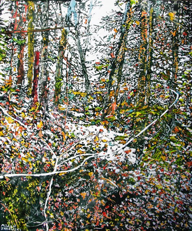 "late autumn hillside morning silence and a slight dusting of snow 28"" x 22""  micheal zarowsky / mixed media (watercolour / acrylic painted directly on gessoed birch panel) available $2100.00"