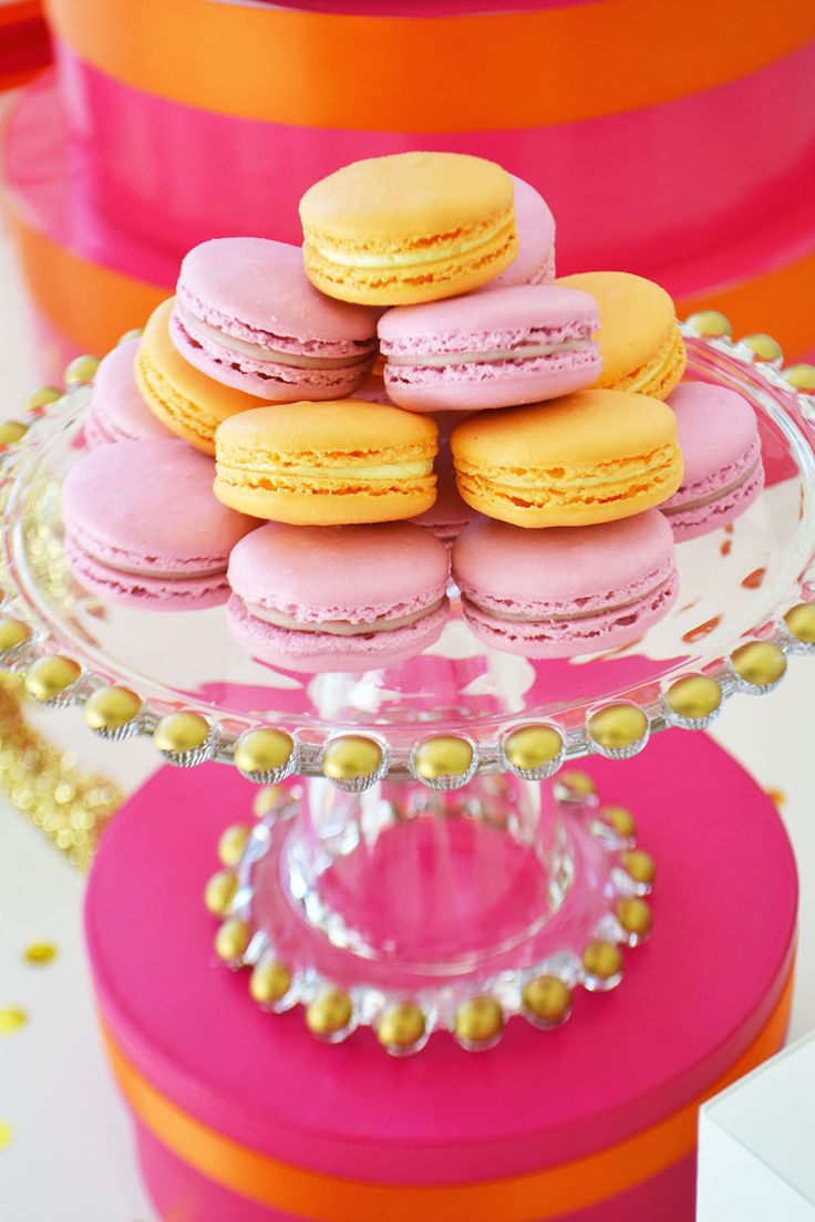 Pretty strawberry and mango French macarons for Valentine's Day. From Bake Sale.