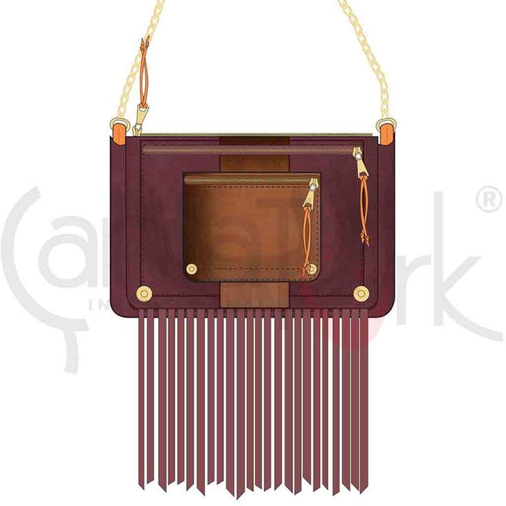Shoulder bag shape in purple and brown PU