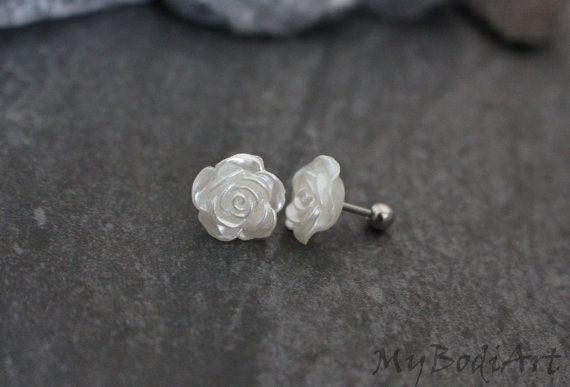 Rose Cartilage Piercing Cartilage Earing Tragus Bar by MyBodiArt