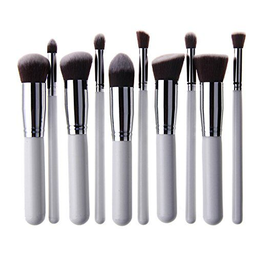 Unimeix® 10 pcs Premium Synthetic Kabuki Makeup Brush Set Cosmetics Foundation Blending Blush Eyeliner Face Powder Brush Makeup Brush Kit (White Silvery) Unimeix http://www.amazon.com/dp/B00RG7J43E/ref=cm_sw_r_pi_dp_HoBvvb1YWEBS8