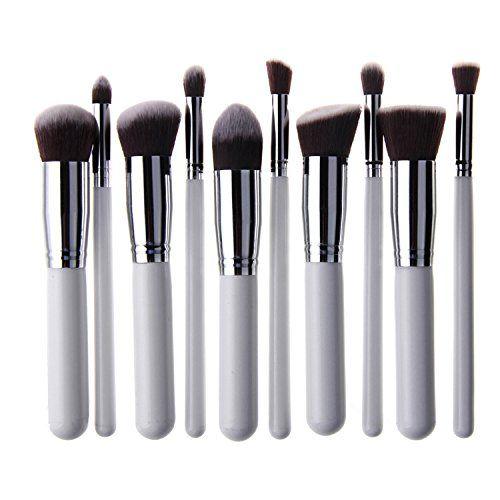 Unimeix® 10 pcs Premium Synthetic Kabuki Makeup Brush Set Cosmetics Foundation Blending Blush Eyeliner Face Powder Brush Makeup Brush Kit (White Silvery) Unimeix http://www.amazon.com/dp/B00RG7J43E/ref=cm_sw_r_pi_dp_HoBvvb1YWEBS8