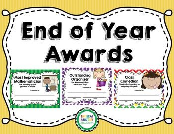 NOW EDITABLE! This product includes 28 different end of year awards or certificates, perfect for celebrating your students. Each award includes a title and cute clip art, along with room for you to write the name of the award recipient and to sign the award.