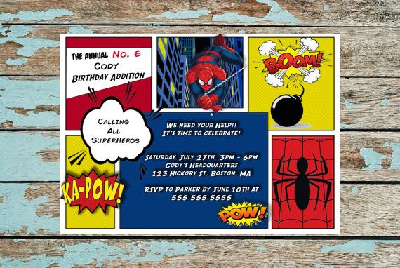 Spiderman birthday invitation, Heros invation, Superhero party