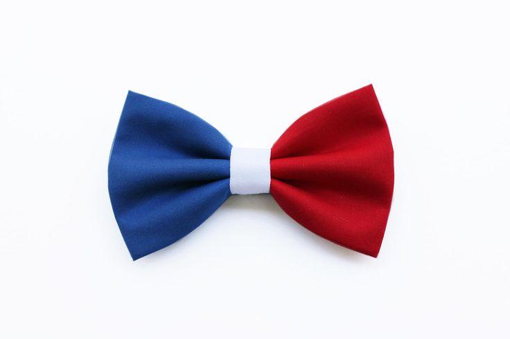 Papillon per uomo blu,bianco e rosso,casual,regalo di Scocca Papillon su DaWanda.com