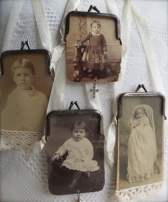 ***International Buyers: Kindly email me PRIOR to purchasing for a shipping quote***    ~Picture Purse~    A vintage cabinet card of a sweet girl in white has been transformed into a faux picture purse. This charming girl is framed in a petite coin purse frame that Ive patinated to give it a vintage feel. The reverse side shows the photographers advertising information and is quite lovely and ornate. Dangling from the bottom is a single French wire-wrapped pearl. The purse itself measures…