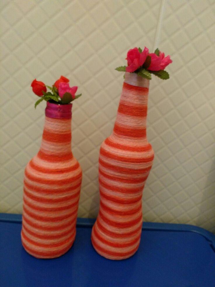 Garrafinhas cm barbante colorido fácil e da um visual diferente