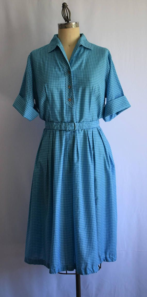 50's Gingham Check Day Dress Blue Gingham Shirt dress