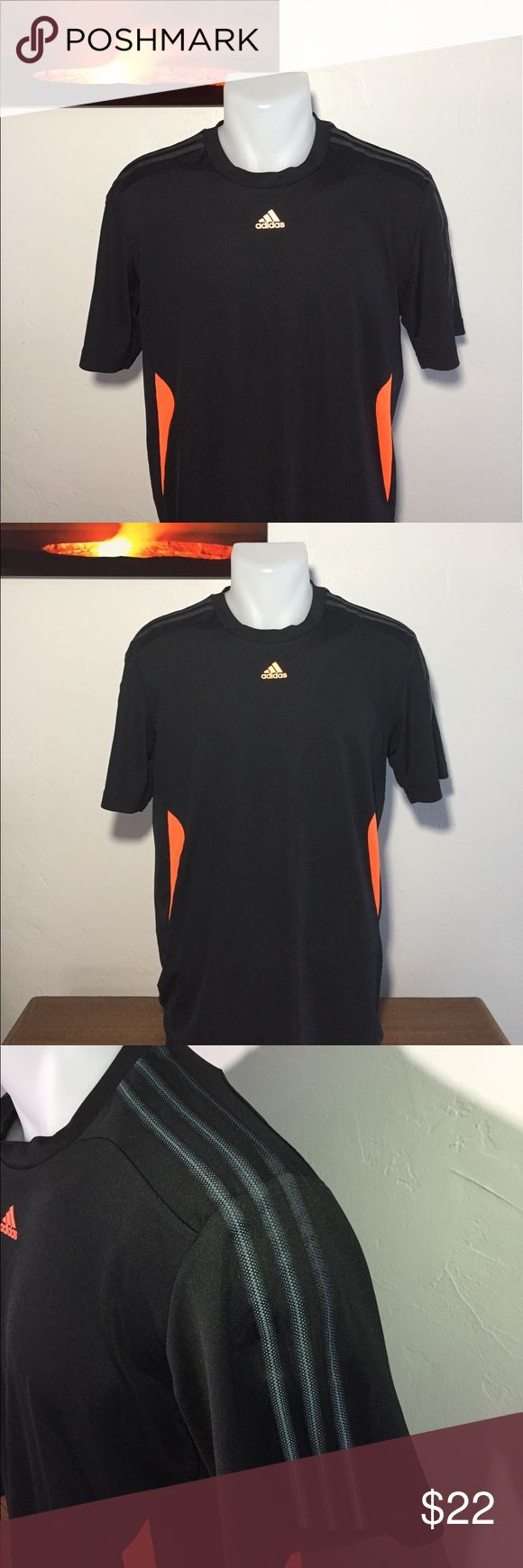 """Men's - Adidas Climalite black and orange shirt This Adidas workout shirt is in excellent condition!! The back and down the side under the arms are mesh and slightly sheer.   Approximate measurements: Total length - 28 1/4"""" Armpit to armpit - 22"""" Sleeve length - 9 3/4""""  M1050 adidas Shirts"""